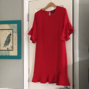Lulus red ruffle dress